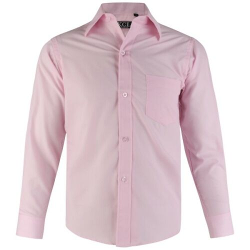 Boys BABY PINK Plain Shirt Smart Formal Party Wedding Funeral 1-15 Years 203