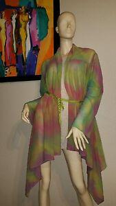 BRYN-WALKER-198-beautiful-sheer-asymmetrical-rainbow-cardigan-m-NWT