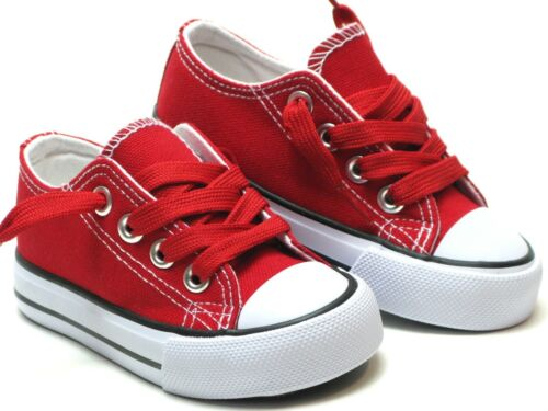 New-Lace-Up-Low-Top-Toddler-Baby-Boy-Girls-Canvas-Shoes-Walking-Comfort-8-Colors
