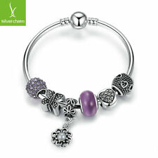 Romantic Purple Zircon Crystal Charms Bangle With Love Beads Fashion DIY Jewelry