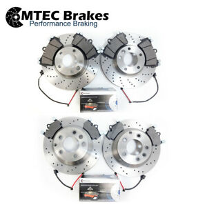 FOR-AUDI-Q7-VW-TOUAREG-PORSCHE-CAYENNE-FRONT-REAR-DRILLED-BRAKE-DISCS-PADS-WIRES
