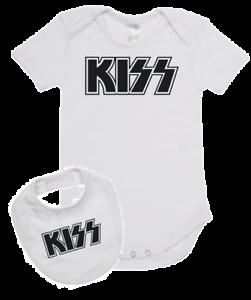 Baby romper suit one piece PLUS a baby bib rock legends KISS new cotton