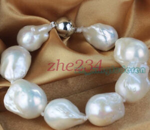 15-22MM-SOUTH-SEA-WHITE-BAROQUE-GENUINE-PEARL-LADY-039-S-bracelet-7-5inch-AA