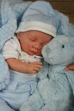BUTTERFLY BABIES STUNNINGREBORN BOY BLUE/WHITE COLLARED SPANISH  ROMPER SOFIA