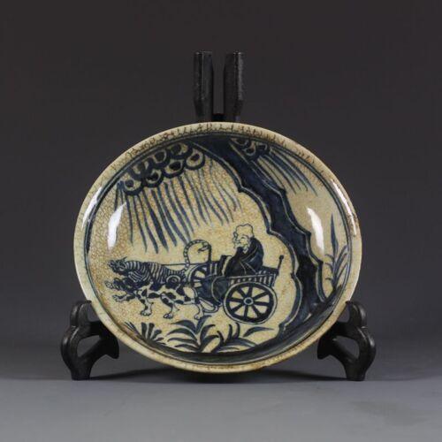 Superb Old China jingdezhen Ming xuande Old man Tree plate Porcelain
