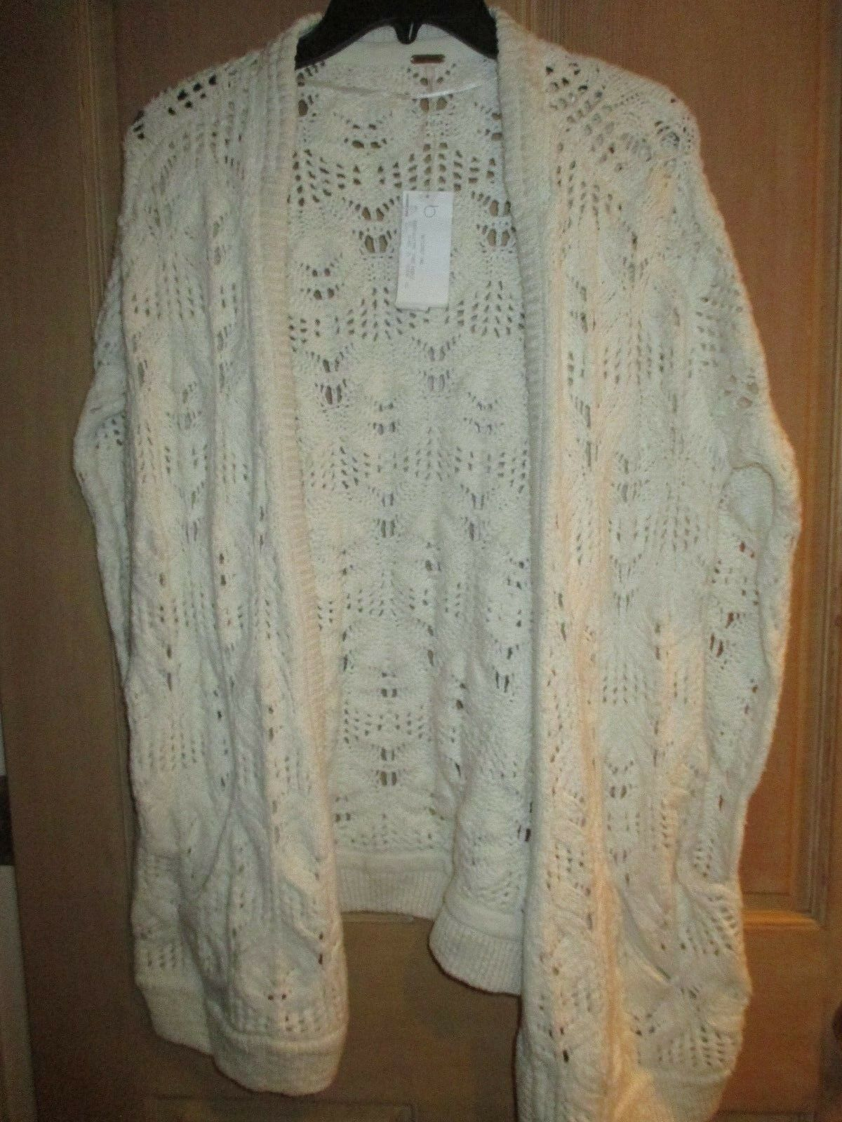 NEW✿ Free People M Cardigan SWEATER SHIRT TOP Poncho Vest Ivory Knit