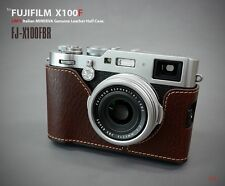 Lim's Italy Minerva Genuine Leather Half Case Brown Camera Cover For Fuji X100F