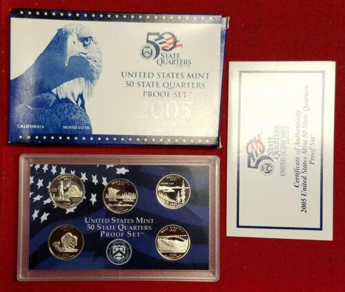 2005 Clad State Quarter 5 Coin US Proof Set COMPLETE W// OGP /& COA