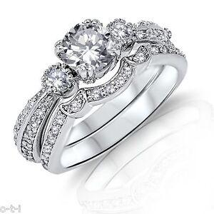 Brillante-Redondo-Diamante-Sintetico-Original-Plata-de-Ley-Set-Anillo-Compromiso