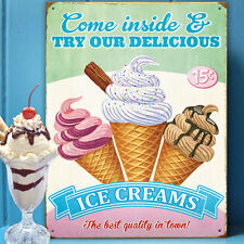 Ice Creams Retro Advert Metal Wall Sign Kitchen Gift Decor Diner American 50149