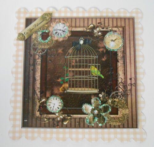 Pk 2 steampunk birdcage sur votre retraite embellissement toppers pour cartes