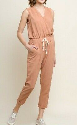 Womens UMGEE Sleeveless V-Neck Jumpsuit with Pockets Color black L NWT