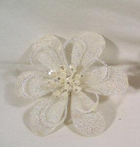 Details About Winter Christmas Garland Decor White Sparkle Poinsettia Flower Clip Ornament