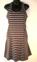 Lola Black Gray Striped Athletic Dress Medium