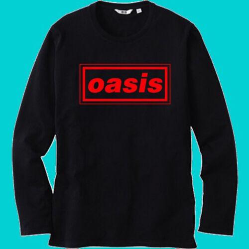 New Oasis British Rock Band Logo Men/'s Black Long Sleeve T-Shirt Size S-3XL