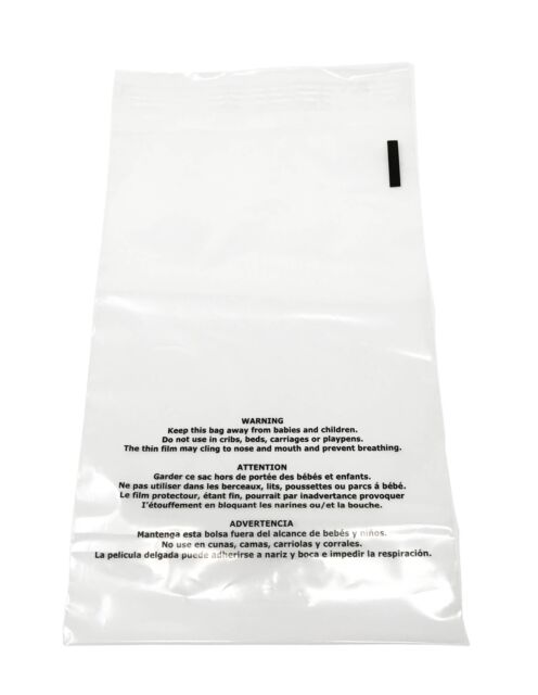 100 19x24 Premium Suffocation Warning Clear Plastic Self Seal Poly Bags 1 5 Mil