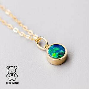 Minimalist Oval Australian Doublet Black Opal Pendant Necklace 14k Yellow Gold