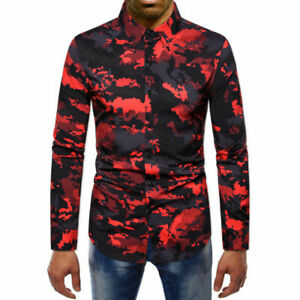 Stylish T-shirt Shirt Casual Floral Tops Fit Long Sleeve Slim Men/'s Formal