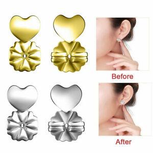 Silver-Gold-1-pair-Earrings-Assist-Device-Ear-Stud-Jewelry-Heart-Shape-AU-STOCK