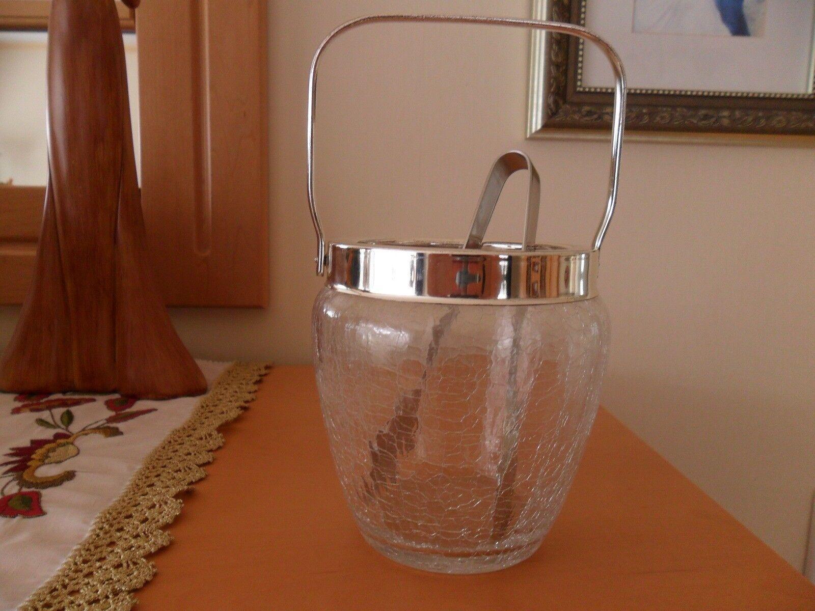 Eiswürfelbehälter, Eiswürfelbehälter, Eiswürfelbehälter, Eiskübel, Craquele Glas, 60er Jahre, Vintage | Marke  8e9305