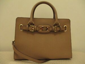 c03c014bbff7 298.00 MICHAEL KORS HAMILTON EW SATCHEL DK KHAKI LEATHER HANDBAG ...