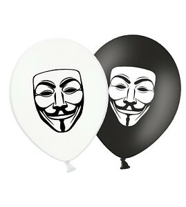 Guy-Fawkes-Mask-12-034-Printed-Latex-Balloons-Black-amp-White-Assorted-pack-of-5