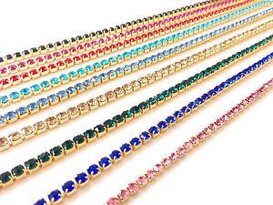 1-M-e-Diamante-Cristallo-Strass-Catena-Colore-Oro-In-Pizzo-Trim-base-di-una-qualita