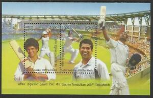 INDIA-2013-SACHIN-TENDULKAR-200th-CRICKET-TEST-MATCH-2v-Souvenir-Sheet-MNH