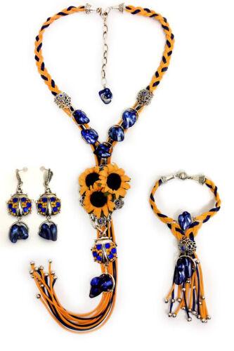 Ukrainian jewellery set in ethnic style Ukrainian embroidery handicraft beads
