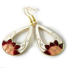 Red Lotus White Heart Drop Gold Plated Cloisonne Enamel Dangle Earrings