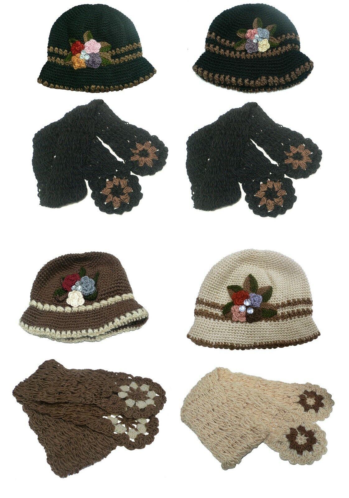 Women/Girls Hat/ Scarf Set Flower Applique Ornament Soft Knitted Yarn SB1232