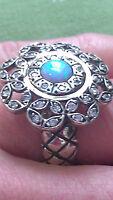 Paz Creations Sterling Silver & 14k Gold Opal Meditation Ring Israel Sz6