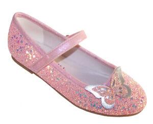 Girls Kids Pink Peach Glitter Sparkly