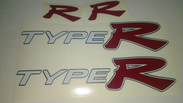 Honda civic type r side skirt stickers with front and rear r badge decals