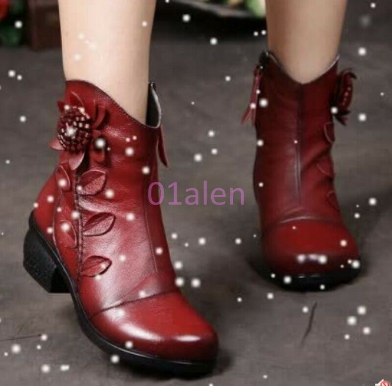 Donna Zip Flower Ankle stivali Leather Bohemia Round Toe scarpe Fur Fleece Winter