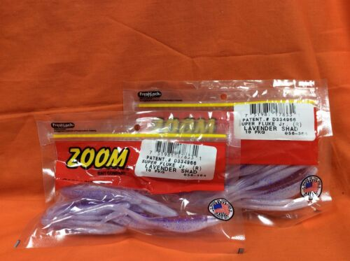 10cnt ZOOM Super Fluke Jr #056-364 Lavender Shad 2 PCKS