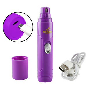 Electric Pet Nail Grinder by Hertzko –Portable & Rechargeable, Includes USB Wire