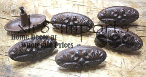3 Cast Iron Antique Victorian Style OVAL Drawer Pull Barn Handle Door Handles
