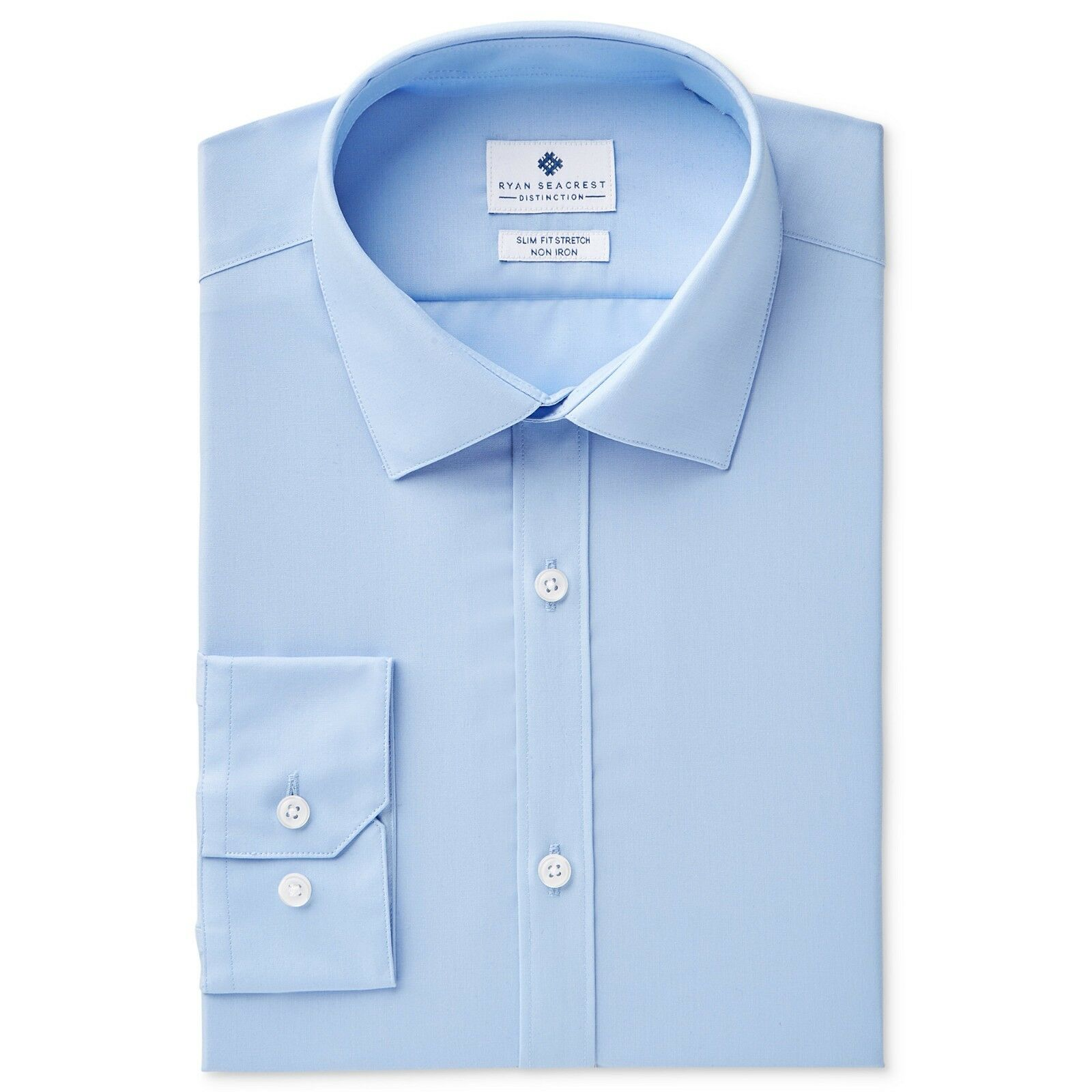 $99 Ryan Seacrest Men Slim-Fit White French-Cuff Tuxedo Dress Shirt 16.5 32//33 L