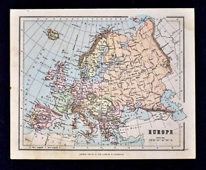 Map Of Spain Italy And France.1889 Hughes Map Europe Spain Italy Germany Britain France