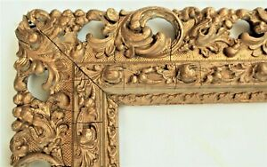 ANTIQUE FIT 9 X 22 GOLD PICTURE FRAME WOOD GESSO ORNATE FINE ART BAROQUE COUNTRY