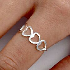 .925 Sterling Silver Ring size 10 Heart Midi Knuckle Hearts Ladies Thumb New q03