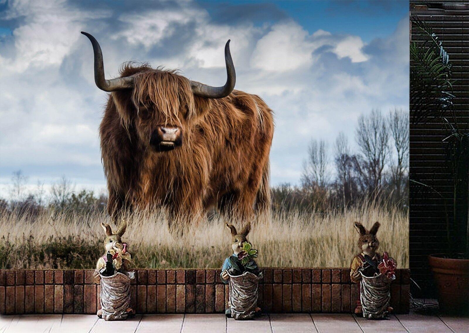 3D Cattle Grass 7154 Wallpaper Mural Wall Print Wall Wallpaper Murals US Lemon