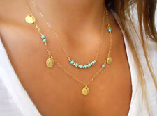 Girls Fashion Double Layers Turquoise Pendant Necklace Chain Gold Paillette*