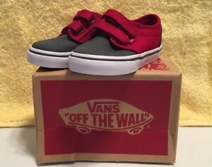 ffa198f97d VANS ATWOOD V 2 TONE GREY RED Boys Toddler Shoes sizes - 4   6 NEW W ...