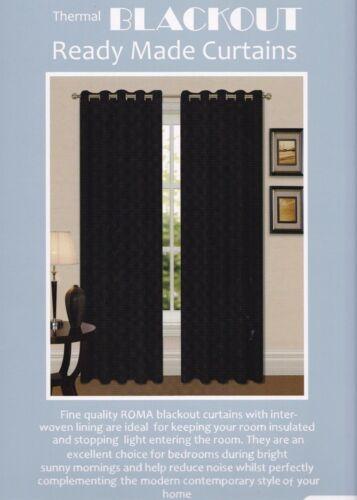 Thermal Ring Top Eyelet Blackout Pair Curtains Ready Made Free Tiebacks Black
