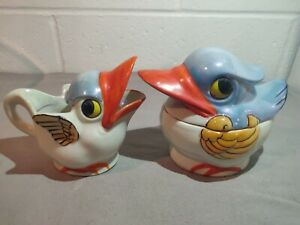Vintage-Japan-Bird-Cream-and-Sugar-Hand-Painted-Made-in-Japan