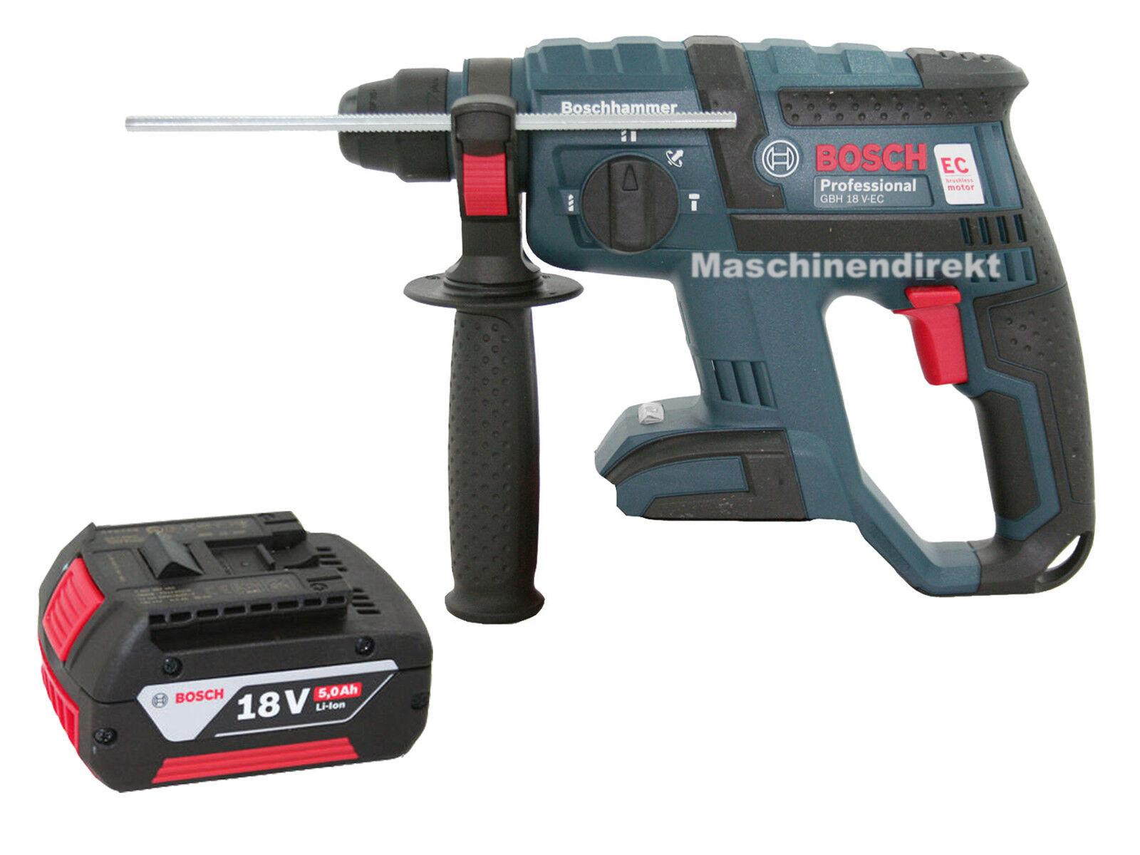Bosch Akku Meißelhammer GBH 18 V-EC SDS plus Bohrhammer SOLO + 5,0 Ah Akku