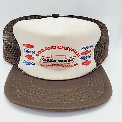 Vtg 80 S Snapback Trucker Hat Richland Chevrolet Chuck Wright Shafter Ca Ebay