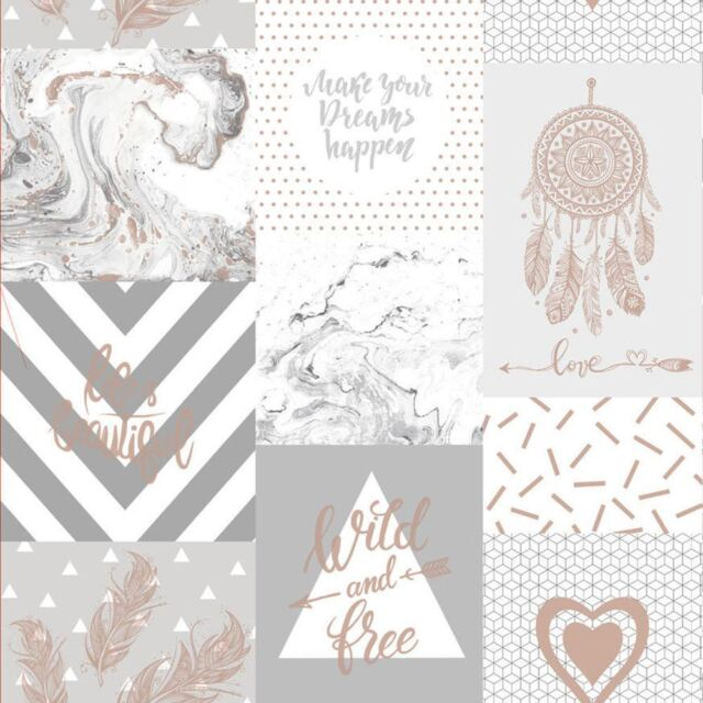 Life Is Collage Wallpaper Grey Rose Gold Holden 90051 For Sale